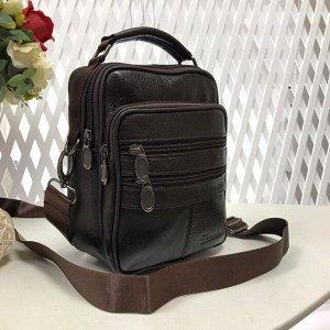 Мужская сумка Posher из мягкой натуральной кожи с ремнем через плечо кофейного цвета.