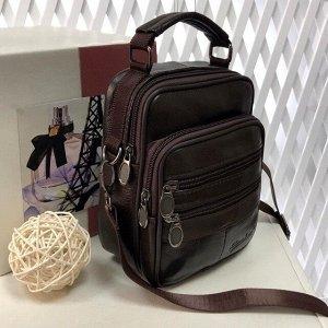 Мужская сумка Code из мягкой натуральной кожи с ремнем через плечо кофейного цвета.