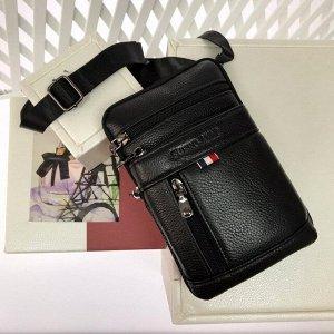 Мужской дизайнерский планшет Mexken из натуральной кожи с ремнем через плечо чёрного цвета.