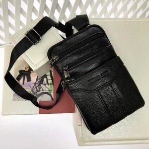 Мужской дизайнерский планшет Tego из натуральной кожи с ремнем через плечо чёрного цвета.