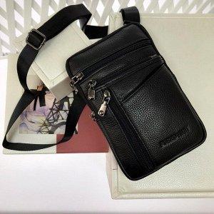 Мужской дизайнерский планшет Aitrix из натуральной кожи с ремнем через плечо чёрного цвета.