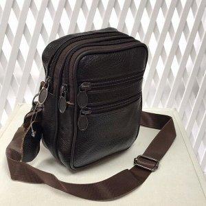 Модная мужская сумка Exx из мягкой натуральной кожи с ремнем через плечо цвета горького шоколада.