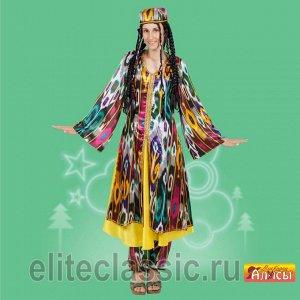 Узбечка Национальный узбекский костюм, прекрасно подойдёт для различных тематических, театральных постановок. В костюм входят тюбетейка, косы, платье, штаны.