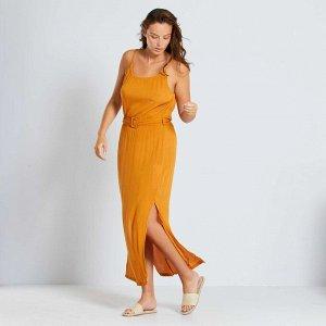 Длинное платье из крепа - коричневый