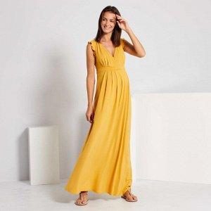 Длинное платье для беременных - желтый