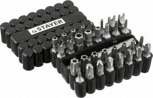 Набор Набор, STAYER Master 26084-H33: Биты СПЕЦИАЛЬНЫЕ Cr-V, с магнитным адаптером, в ударопрочном держателе, 33 предмета  КОМПЛЕКТАЦИЯ: Биты Double Pin: 4, 6, 8, 10 - 4 шт. Биты TORQ: 6, 8, 10 - 3 шт