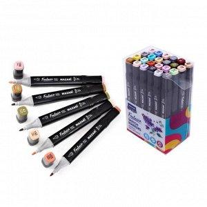 Художественный набор двухсторонних маркеров Mazari Fantasia 24 цвета Grey-pastel colors (серо-пастельные цвета), пишущие узлы 3.0-6.2 мм