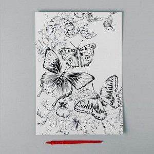 Гравюра «Полет бабочек» A4, с металлическим золотым эффектом