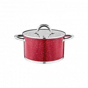 Кастрюля agness со стеклянной крышкой, нерж.сталь, серия red marble 2,5л 18х10,5см