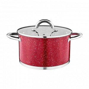Кастрюля agness со стеклянной крышкой, нерж.сталь, серия red marble 3,5л 20х11,5см