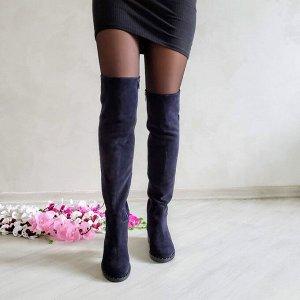 Чернильные замшевые высокие сапоги Luxury