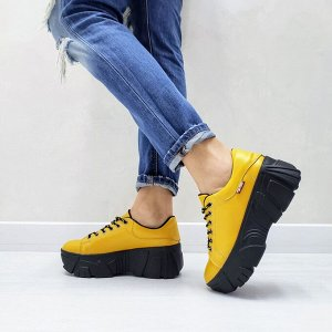 Желтые кожаные кроссовки COSMOS с черной подкладкой