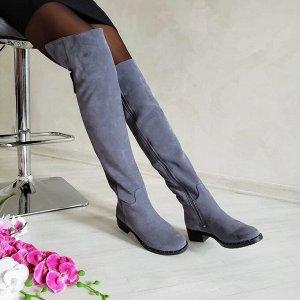 Серые замшевые высокие сапоги Luxury