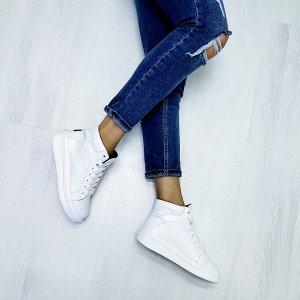 Белые кожаные высокие кеды RUN