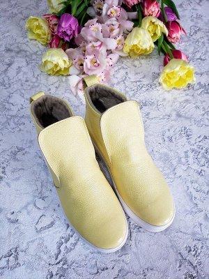 Желтые кожаные слипоны ANKLE SLIP