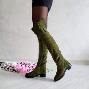 Замшевые высокие сапоги Luxury цвета хаки
