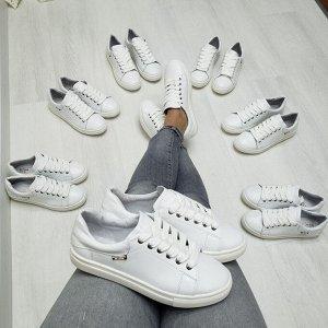 Белые кожаные кеды Alleviare