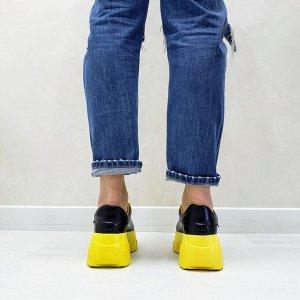 Черные кожаные кроссовки COSMOS с желтой подкладкой