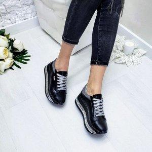 Черные кожаные кроссовки XL