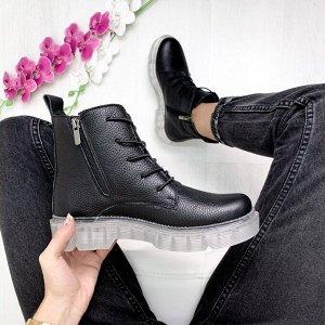 Черные кожаные ботинки KING