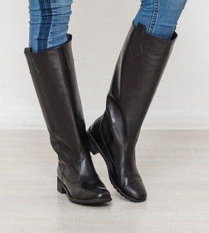 Черные кожаные сапоги Пика