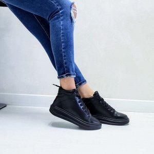 Черные кожаные высокие кеды RUN