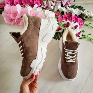 Бежевые замшевые кроссовки POWER