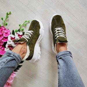 Замшевые кроссовки POWER цвета хаки