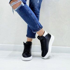 Черные кожаные высокие кеды RUN со вставками белой кожи