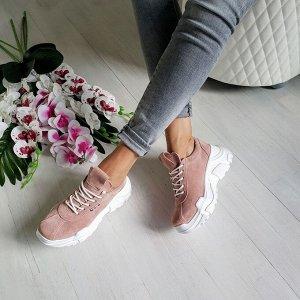 Пудровые замшевые кроссовки POWER
