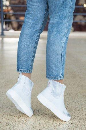 Белые кожаные ботинки CHELSEA патированные серебром
