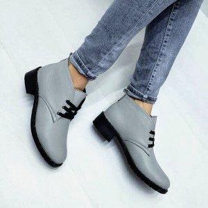Серые кожаные ботинки Desert