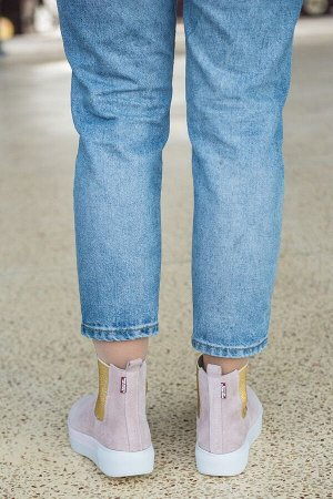 Пудровые замшевые ботинки CHELSEA