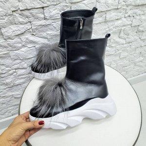 Черные кожаные ботинки Shark с пушками из натуральной чернобурки