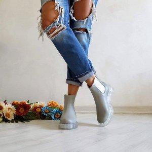 Серые кожаные ботинки CHELSEA ICE