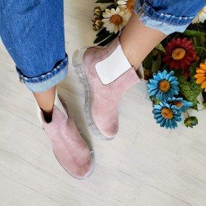 Пудровые  замшевые ботинки CHELSEA ICE