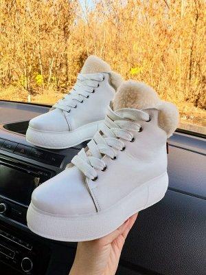 Белые кожаные высокие кеды SWEETY