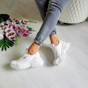Белые кожаные кроссовки POWER