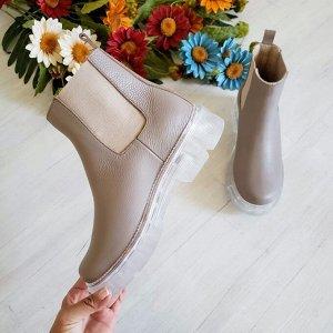 Бежевые кожаные ботинки CHELSEA ICE