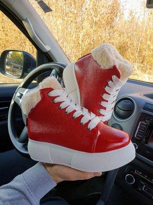 Красные кожаные высокие кеды SWEETY