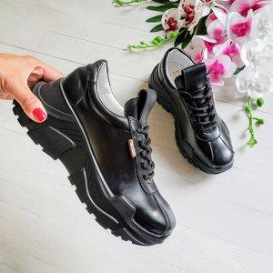 Черные кожаные кроссовки POWER