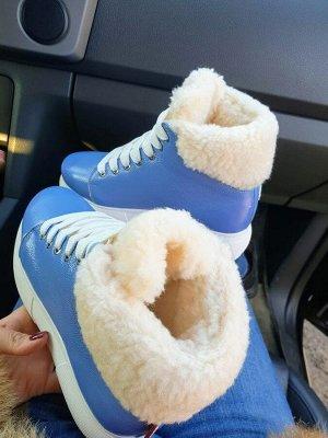 Синие кожаные высокие кеды SWEETY