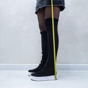 Черные сапоги-чулки 2020 на белой подошве