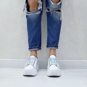 Белые кожаные кроссовки COSMOS с голубой подкладкой