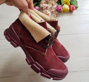 Бордовые замшевые ботинки LookLike