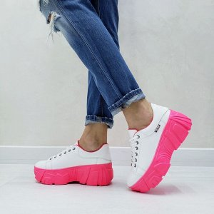 Белые кожаные кроссовки COSMOS с коралловой подкладкой