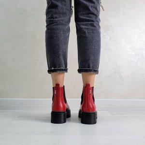 Красные кожаные ботинки CHELSEA Dr.