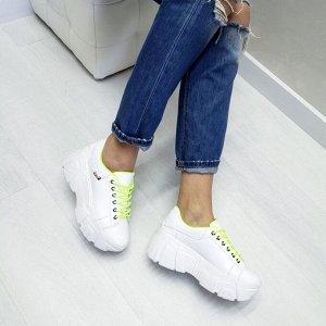 Белые кожаные кроссовки COSMOS с неоновой подкладкой