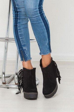 Черные замшевые ботинки с бахромой