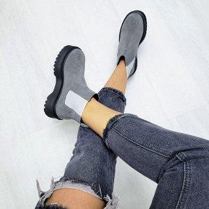 Серые замшевые ботинки CHELSEA Dr.